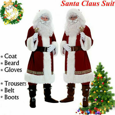 Christmas Santa Claus Costume Fancy Dress Adult Suit Cosplay Party Outfits Sets
