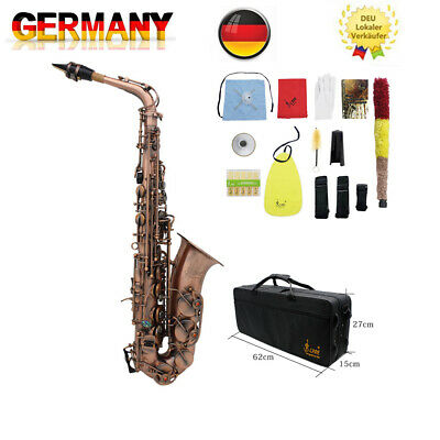 LADE Pro Red Bronze Bend Eb E-flat Alto Saxophone Sax with Accessories Case N8O3
