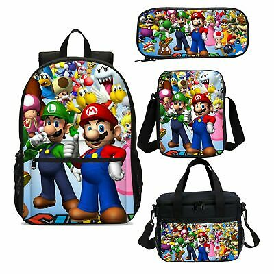 Super Mario Bro Party Backpacks Insulated Lunch Box Shoulder Bag Pencil Case Lot