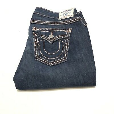 True Religion Jeans, Straight, Size 32, Blue with Pink Stitching.
