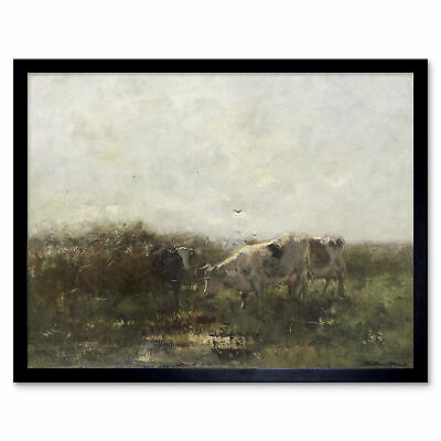 Willem Maris Cows Pasture Painting Wall Art Print Framed 12x16