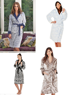 Ladies knee long length luxury dressing gown bath robe loungeable super soft