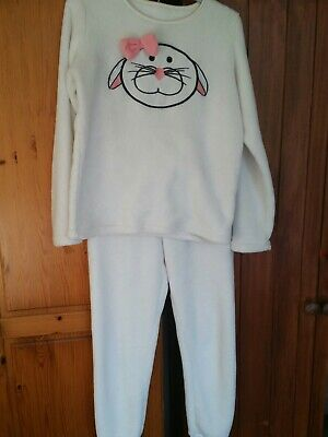 Girls White Rabbit Fluffy Warm Fleece Pyjamas Age 12-13