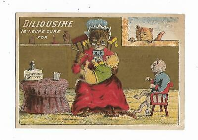 Quack Medicine Trade Card Biliousine Sure Cure Cats Administering Medication