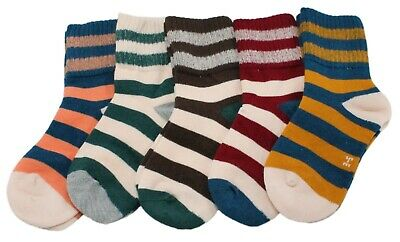 Kids Boys Girls 5-Pack Cotton Rich Bold Striped Ankle Socks Age 3-5 6-8 9-12