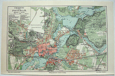 Potsdam & Vicinity - Original 1909 City Map by Meyers. Antique.