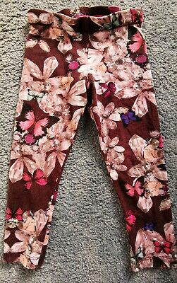 Ted Baker Leggings Trousers Girls Age 2-3 Floral Print maroon red pink
