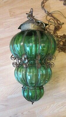Vintage Green Glass Metal Hanging Swag Pendant Light