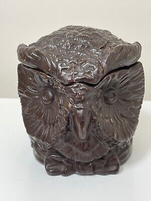 1 Rare Small Antique Black Forest Eichwald Ceramic Earthenware Owl Tobacco Jar