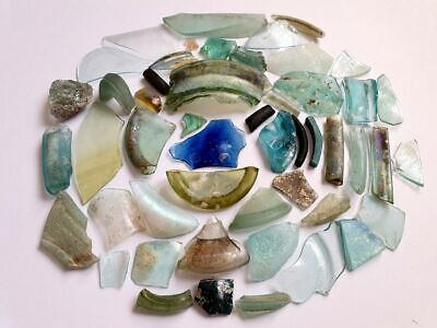 ⚱ 50 Ancient Roman • Iridescent Patina Glass Fragments • Israel • Holy Land #4 ⚱