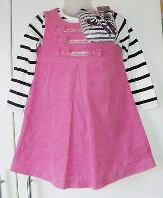 Bnwt Girls Next Top Cord Dress & Tights 2-3 Yrs Christmas Party Pink Navy White