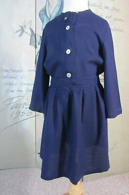 vintage 40's 50's blue linen girls skirt and top age 5 -6 WW2 costume world book