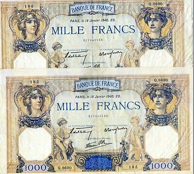 x2 Consecutive France French 1000 Francs  Banknotes 1940