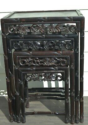 Old Chinese Nesting Tables Set of 4 Wood Carved