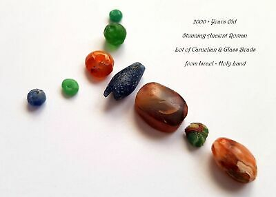 ⚱ 2000+ Years Old Stunning Ancient Roman Lot of Carnelian & Glass Beads Israel ⚱
