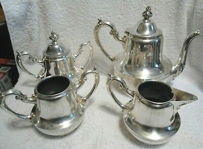 Sheffield 5 Piece Silver Plate Tea Set in Very Good Condition - Etched/Numbered