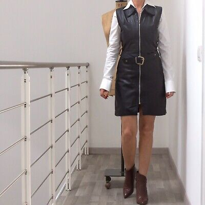 Vintage leather dress anni 80, scamiciato abito in pelle made in Italy originale