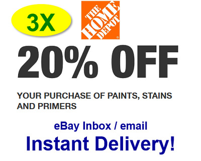 3x Three Home Depot 20 Off Paint Promo 3coupons In Store Only Fast Delivery 3 39 Picclick