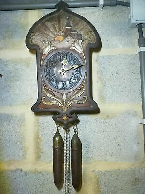 Early 1900s German Jugend Art Nouveau Arts and Crafts 8 Day Wall Clock