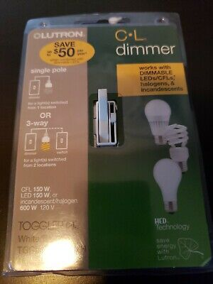 Lutron Electronics TGCL-153PH-WH Single-Pole/3-Way CFL/LED Toggle Dimmer, White