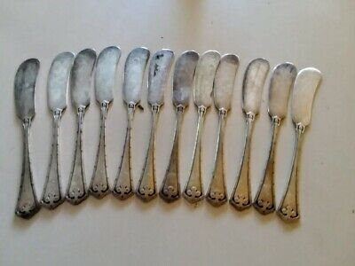 "sterling silver carmel WALLACE butter knife 12 pcs  antique mono "" L"""