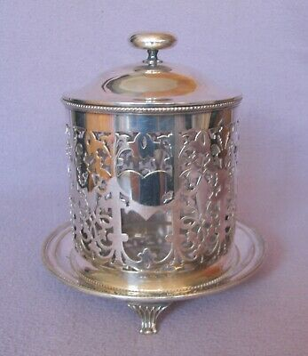 Antique Late Victorian Silver Plate EPNS Biscuit Barrel