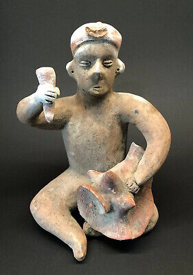 """MLC s4645 12"""" Pre-Columbian Human Effigy Clay Idol Pot Pottery With Conch Shell"""