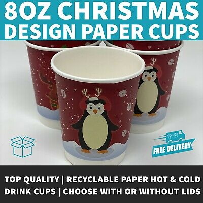 8oz Festive Design Christmas Coffee Cups Disposable Paper Coffee Cups WCSI