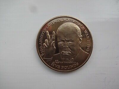 Rare*1995*Unc*Isle Of Man End Of Wwii 1945 Churchill £5 Five Pound Coin-