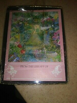 Vintage Antioch Bookplate Company Box of Pink Flower Garden Helen Lea 1991
