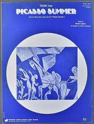 1969 THEME FROM PICASSO SUMMER Piano Solo Sheet Music MICHEL LEGRAND
