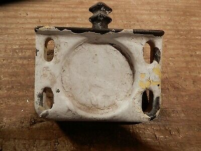 antique bathroom glass holder fixture cast iron enameled wall mount OLD hardware