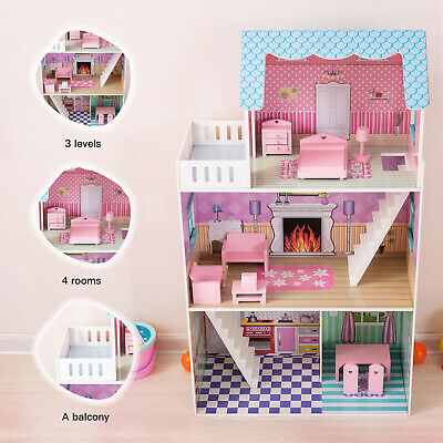 "Large Children Wooden Dollhouse 42"" Fits Barbie Mansion w/ 9 PCS Furniture Pink"
