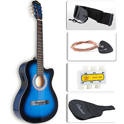 """38"""" Electric Acoustic Guitar Cutaway Design With Guitar Case Strap Tuner"""