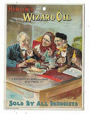 Old Quack Medicine Advertising Store Sign Hamlin's Wizard Oil Banishes Pain