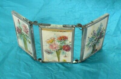 VINTAGE Antique Folding 3 Way Ladies Travel Mirror Very Old Paper Flower Picture