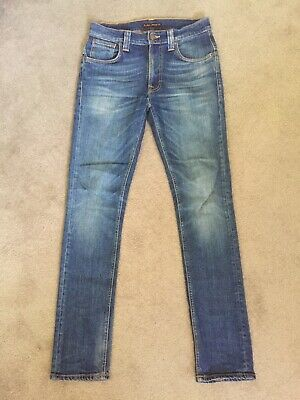 Nudie Jeans W 29 L 32 Tape Ted Grey Worn Indigo 98% Organic Cotton Made in Italy