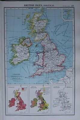 1952 Map ~ British Isles Political England Wales Scotland Agriculture Population