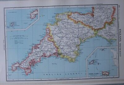1952 Map ~ England & Wales South West Decon Exeter Plymouth Cornwall Bodmin