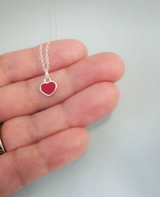 """Sterling Silver Small Red Heart Charm Pendant Necklace 16"""" or 18"""", Gift Box"""