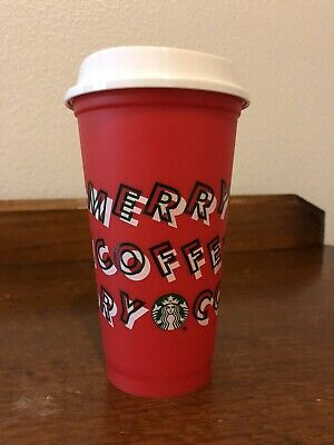 Starbucks 2019 Holiday Reusable Red Hot Cup Grande 16 oz Plastic Coffee-BPA Free