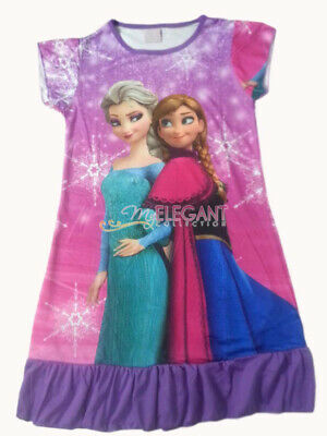 Disney Frozen Elsa Anna Girls Children Kids Party Dress Purple Pajama Skirt 3-10