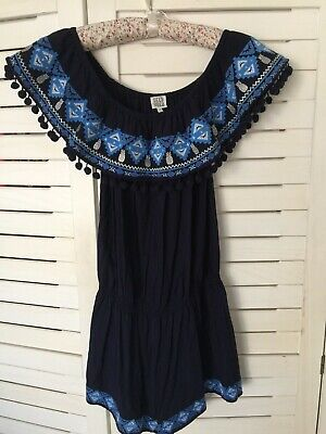 SEED TEEN ***Girls 14 NEW Blue Playsuit /Jumpsuit, Embroidery & Pom Pom Detail