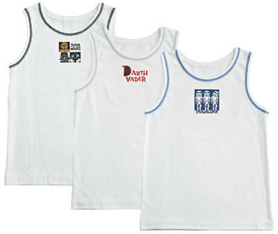 Disney Boys Pack Of 3 White Star Wars Vests Multi Age - 2/3 Years Brand New