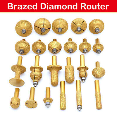 Pro Electroplated Diamond Stone Marble Grinding Edge Router Bit 23 Models NewUS