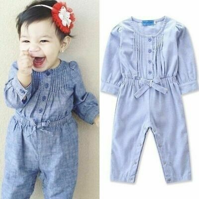 Toddler Kids Baby Girl Denim Bowknot Romper Bodysuit Jumpsuit Outfits Clothes