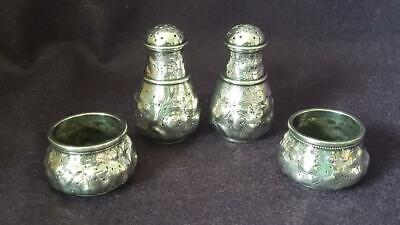 1900s Whiting Mfg Co USA Japanesque 4pc Sterling Salt & Pepper Muffineer Set 99g