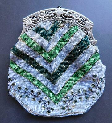 Lovely Edwardian era Glass Beaded Purse Continental Dutch Silver Frame Bag