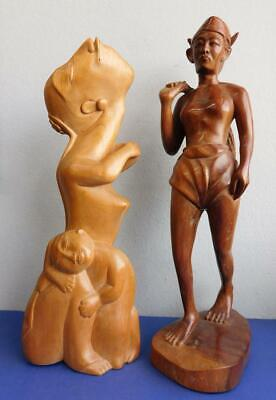 AUC2 2 Vintage Balinese Hand Carved Wooden Statues Peasant Farmer Mother & Child