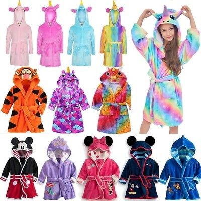 Kids Boy Girl Hooded Pajamas Bath Robe Unicorn Nightwear Sleepwear Dressing Gown